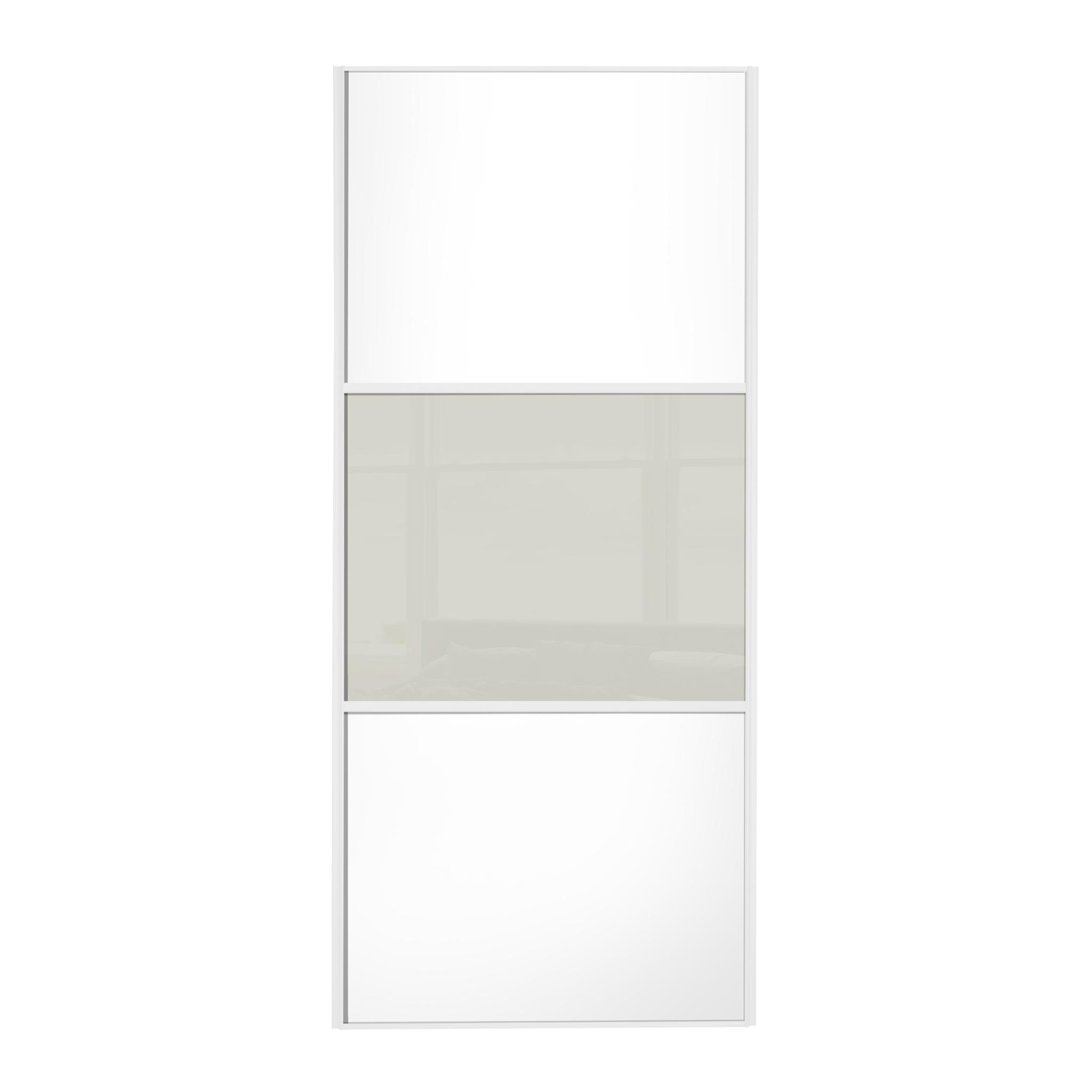 Linear 610mm white white white 3 panel sliding door with for Upvc french doors homebase