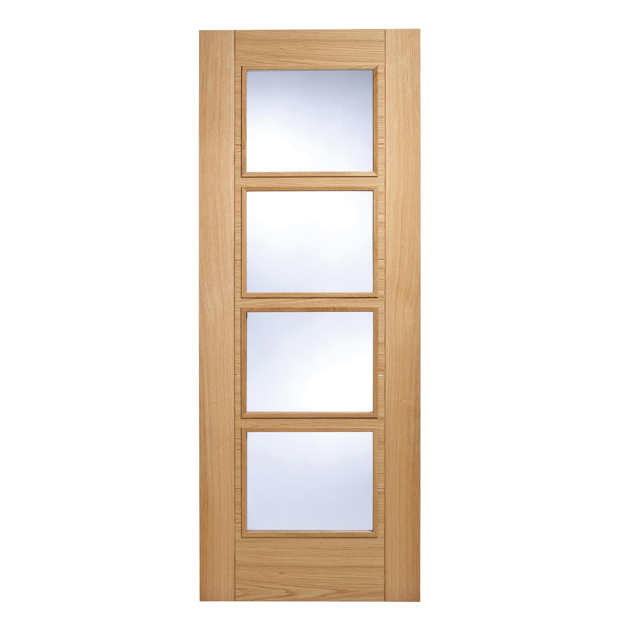 Vancouver oak 4 light glazed internal door 2040x726mm for Door 2040 x 726
