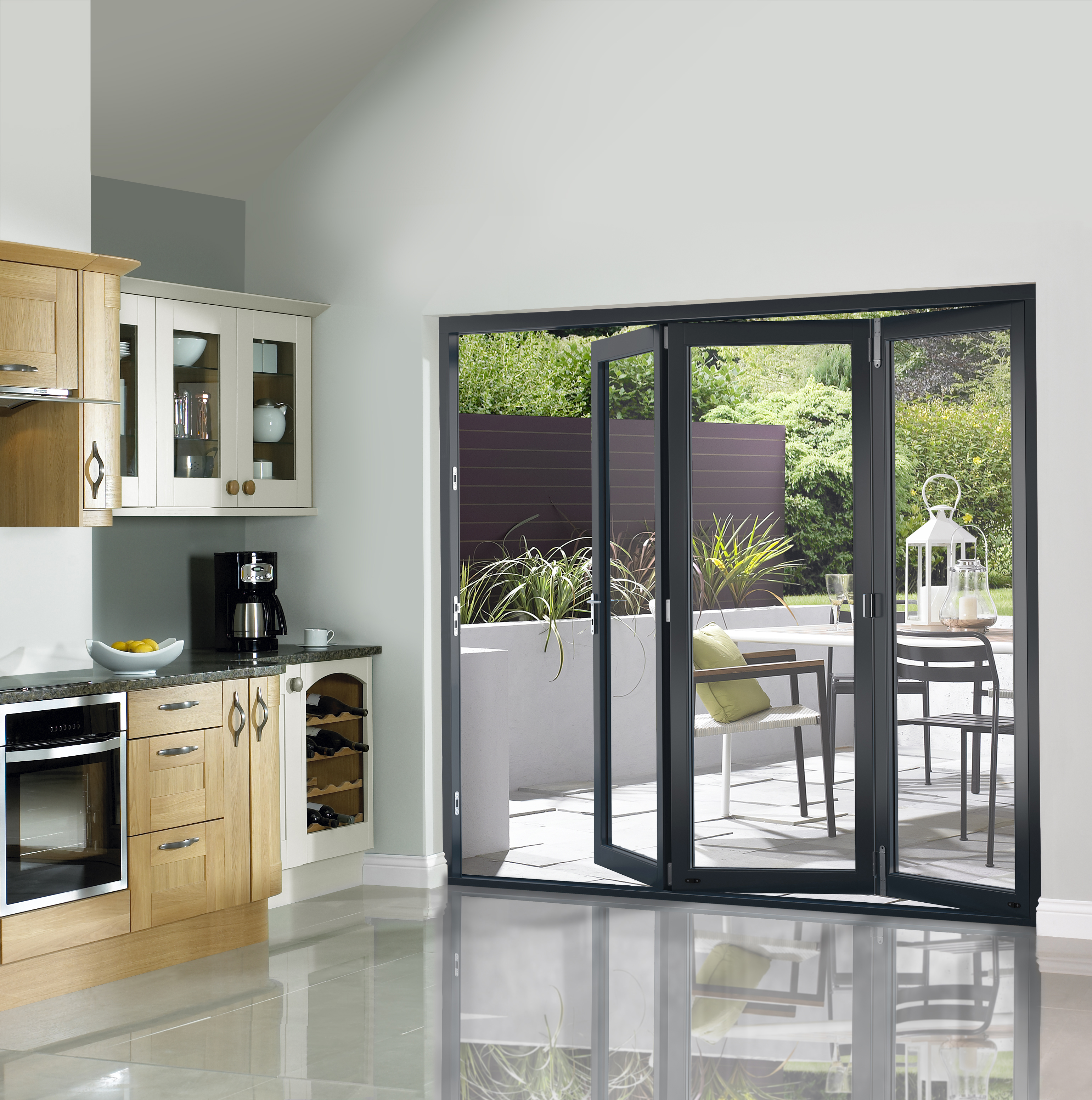 Grey pre finished external folding doors 2090 x 2690mm for Folding french patio doors